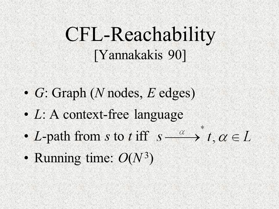 CFL-Reachability [Yannakakis 90]